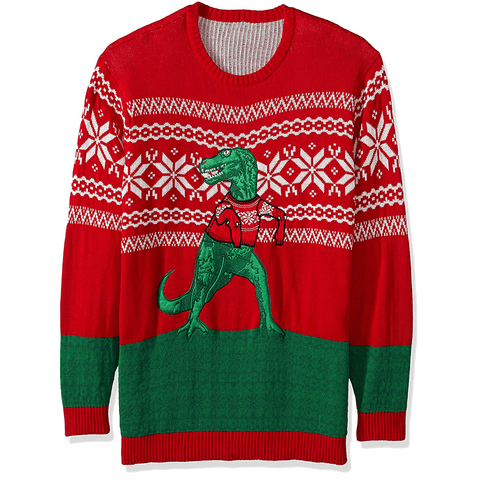 T-Rex in a Sweater Men's Plus Size Sweater