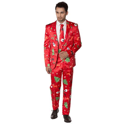 Snowman Patterned Christmas Suit - Red