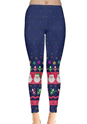 Santa Patterned Navy Christmas Leggings