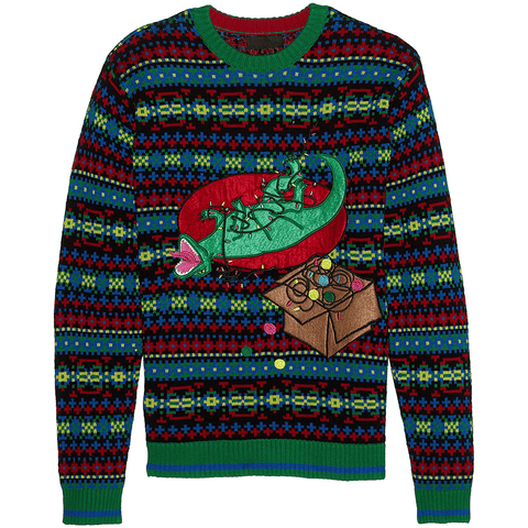 Laughing T-Rex Tangled in Christmas Lights LED UNISEX Sweater