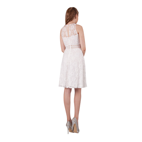 Sleeveless White Lace Dress