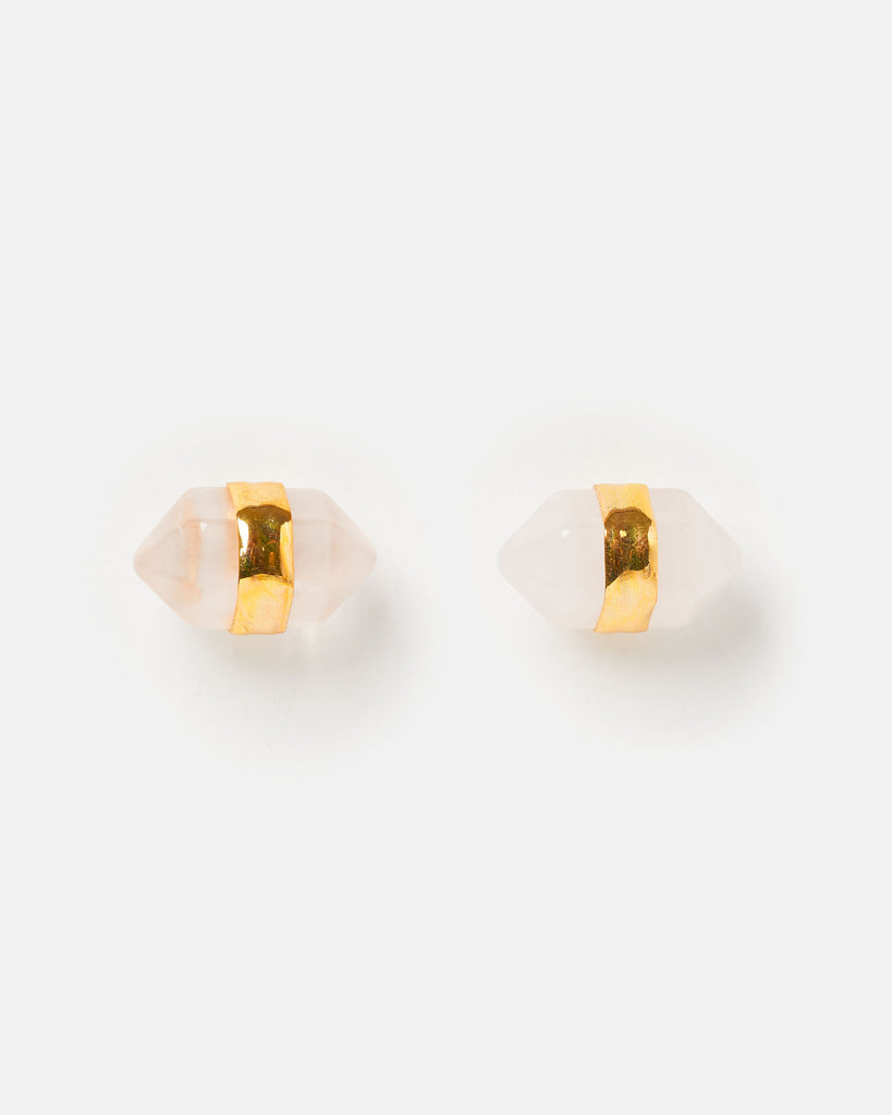 Miz Casa & Co Angel Fish Stud Earrings Rose Quartz Gold
