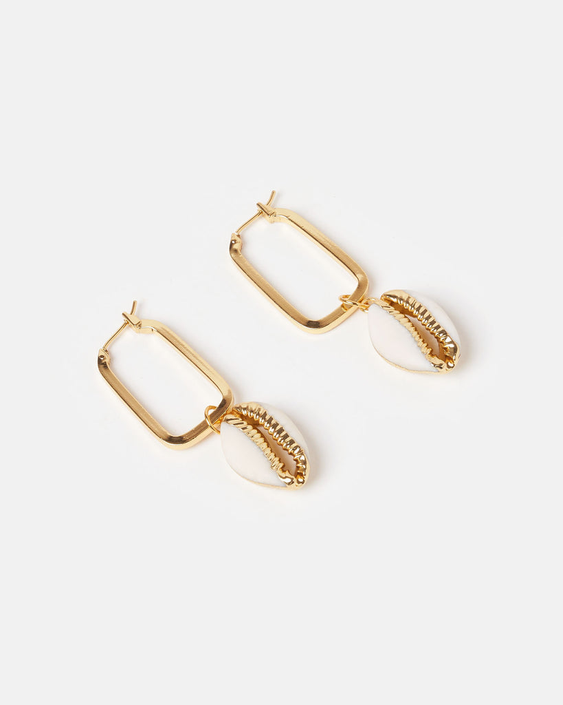 Miz Casa & Co Atoll Shell Earrings Gold White