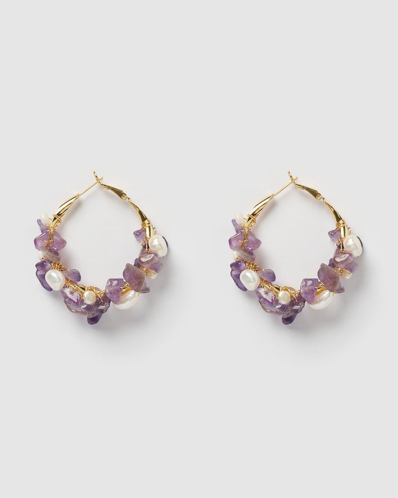 Miz Casa & Co Adella Hoop Earrings Amethyst Gold