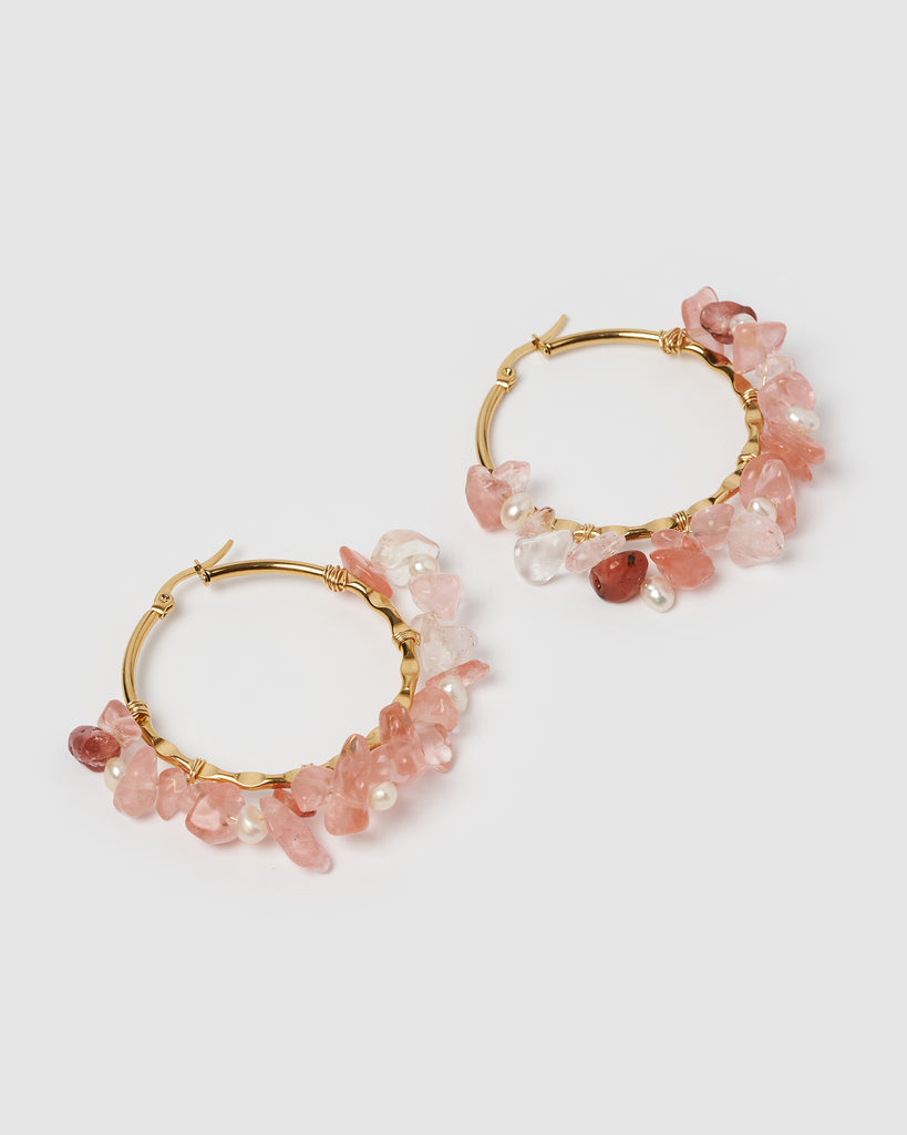 Miz Casa & Co Adella Hoop Earrings Coral Gold