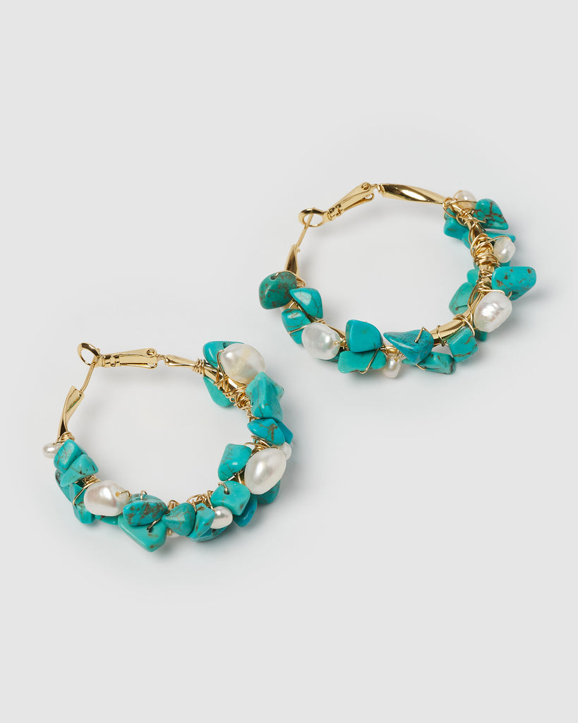 Miz Casa & Co Adella Hoop Earrings Turquoise Gold