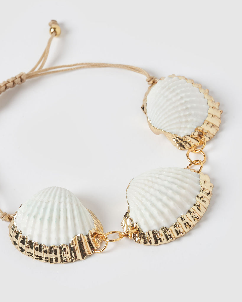 Miz Casa & Co Bora Bora Shell Bracelet Gold White