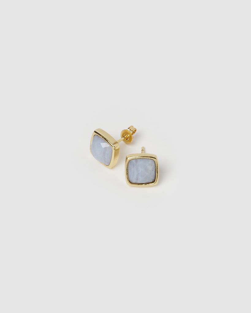 Miz Casa & Co Billows Stud Earrings Agate Gold