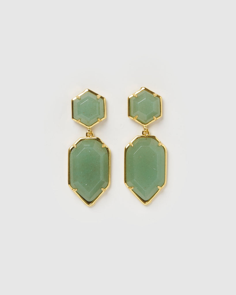 Miz Casa & Co Clementine Earrings Jade Gold