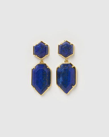 Miz Casa & Co Lucky Charm Earrings Blue Gold