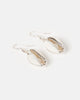 Miz Casa & Co Cowrie Shell Earrings Silver White