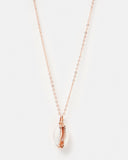 Miz Casa & Co Cowrie Shell Necklace Rose Gold White