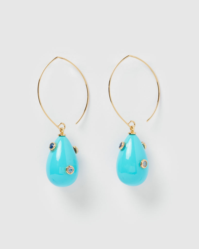 Miz Casa & Co Carole Embellished Enamel Earrings Blue