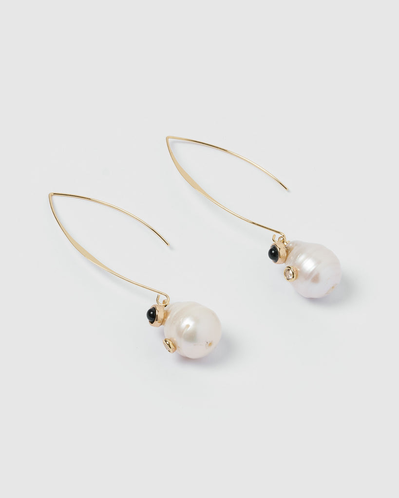 Miz Casa & Co Charlie Drop Pearl Embellished Earrings Black Gold