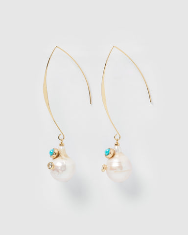 Miz Casa & Co Malia Earrings Gold Freshwater Pearl