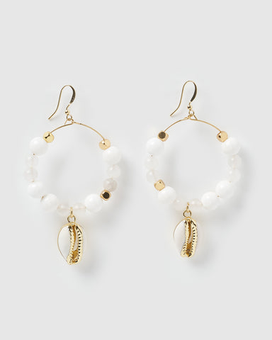 Miz Casa & Co Carole Embellished Enamel Earrings White