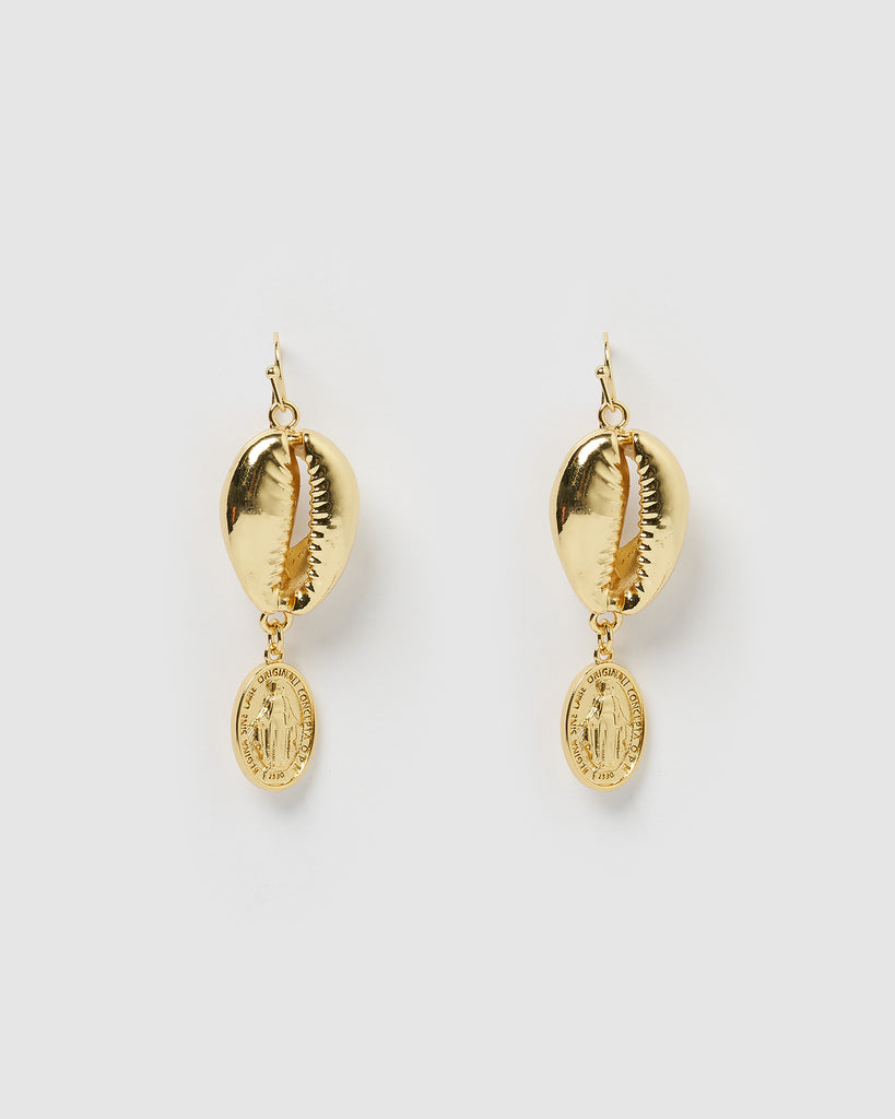 Miz Casa & Co Cowrie Medallion Earrings Gold