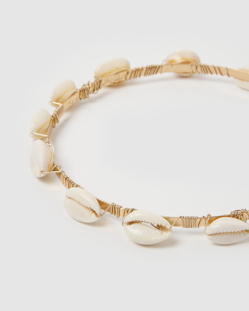 Izoa Cowrie Shell Headband Gold White