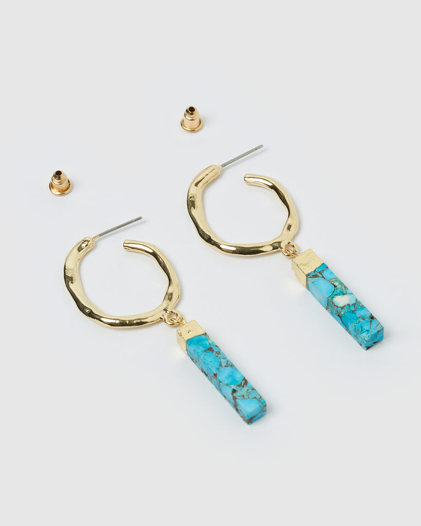 Miz Casa & Co Davina Hoop Earrings Gold Aqua