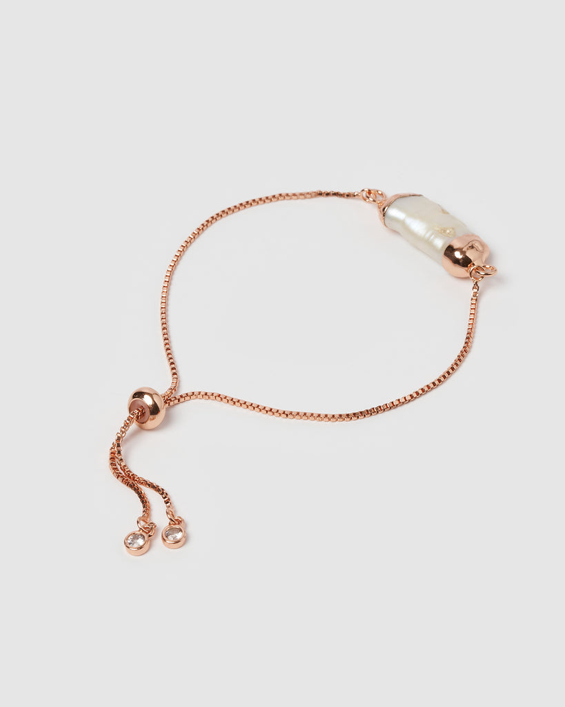 Miz Casa & Co Daze End Bracelet Rose Gold Freshwater Pearl