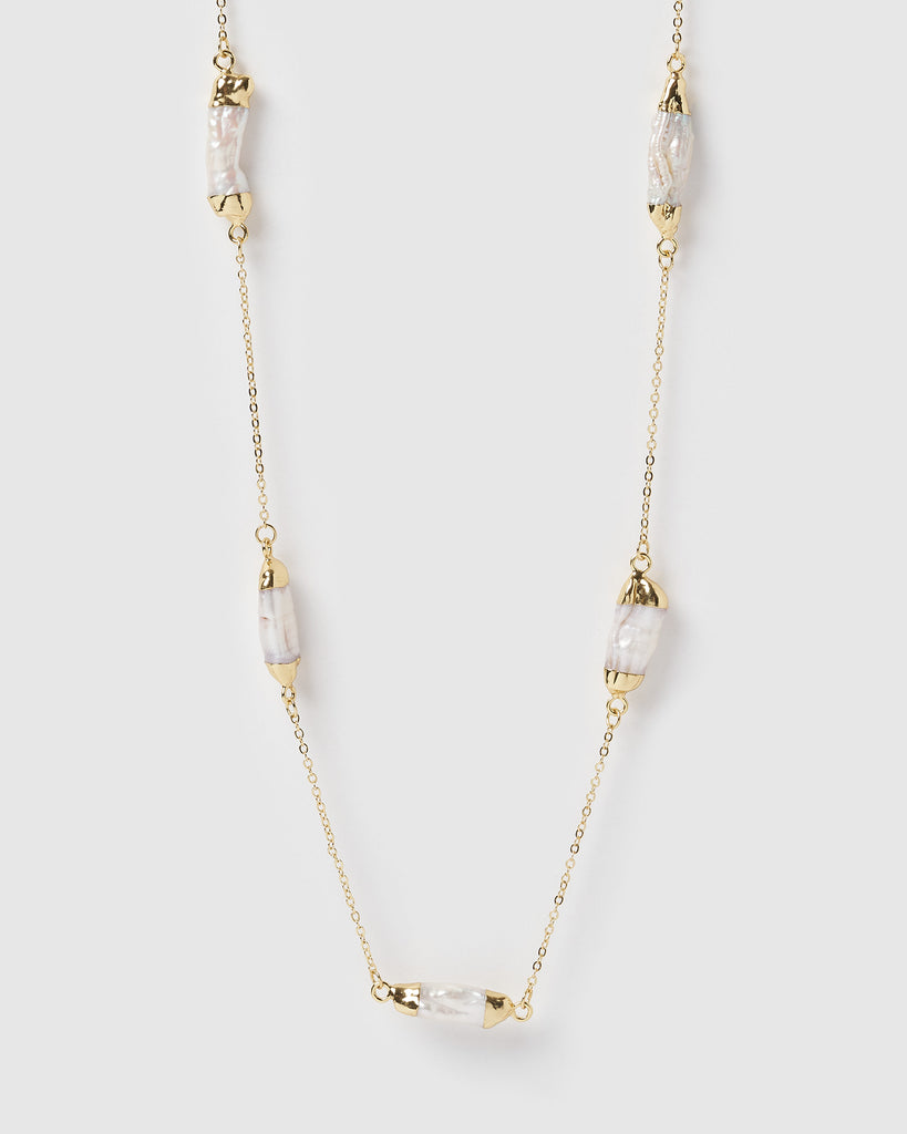Miz Casa & Co Daze End Necklace Gold Pearl