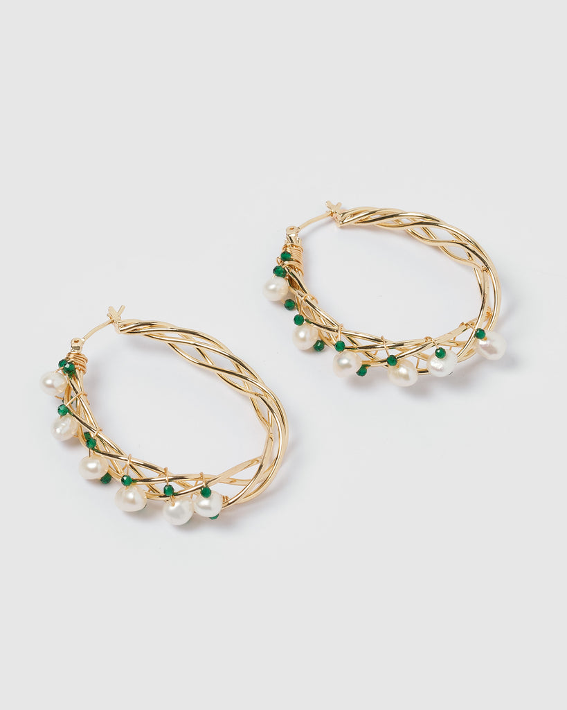 Miz Casa & Co Devine Wire Hoop Earrings Gold Green