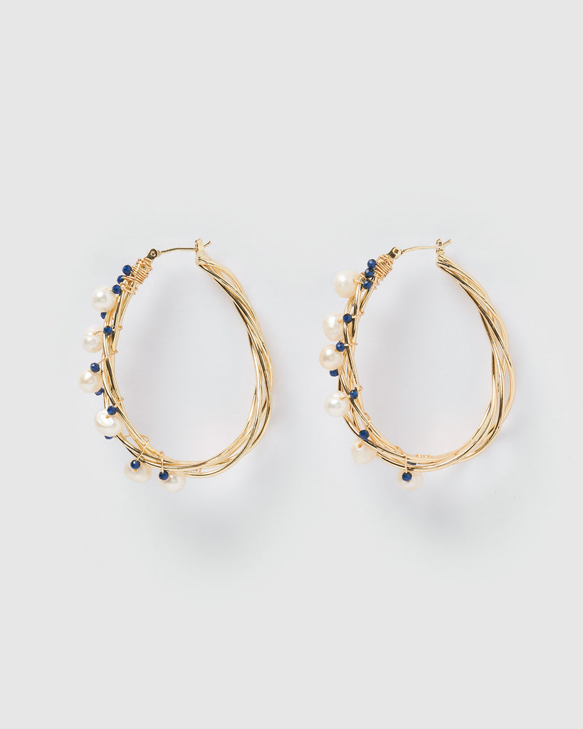 Miz Casa & Co Devine Wire Hoop Earrings Gold Blue