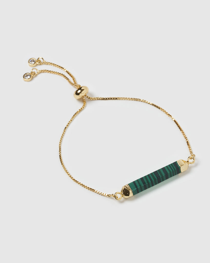 Miz Casa & Co Faceted Stone Bracelet Malachite