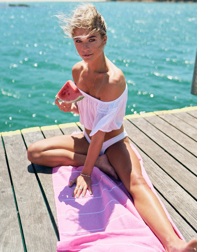 Miz Casa & Co French Riviera Turkish Towel Pink