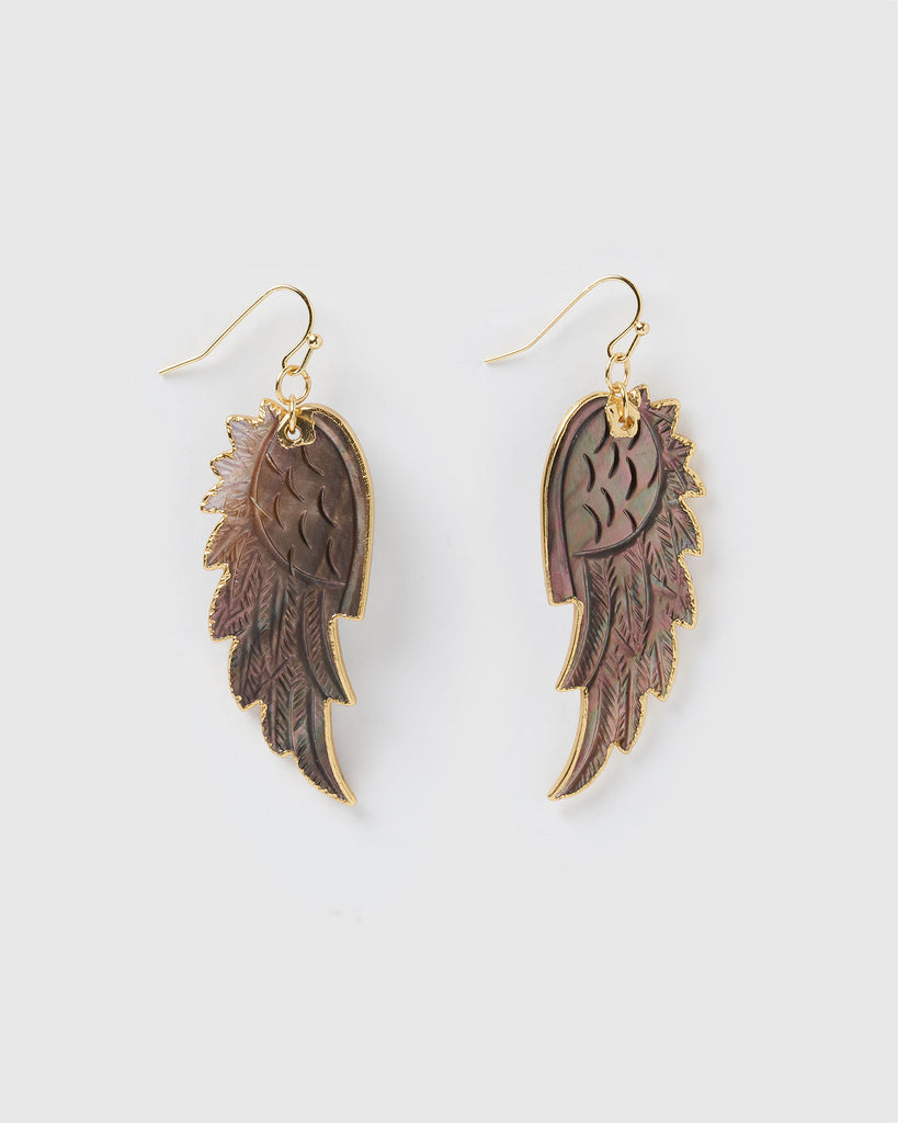 Miz Casa & Co Full Flight Earrings Dark Shell