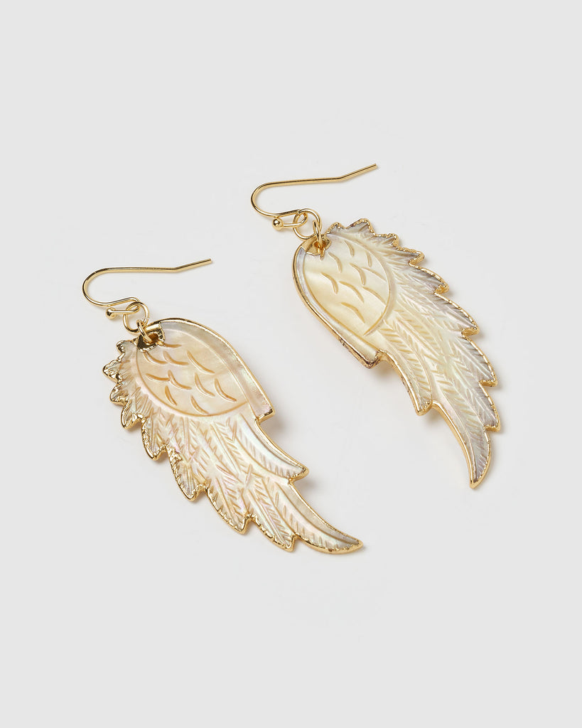 Miz Casa & Co Full Flight Earrings Gold Shell