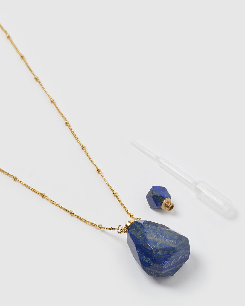 Miz Casa & Co Fantasy Pendant Perfume Bottle Necklace Blue Lapis Gold