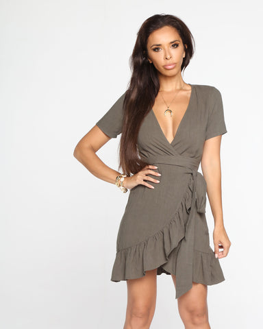 Miz Casa and Co Olivine Dress Beige