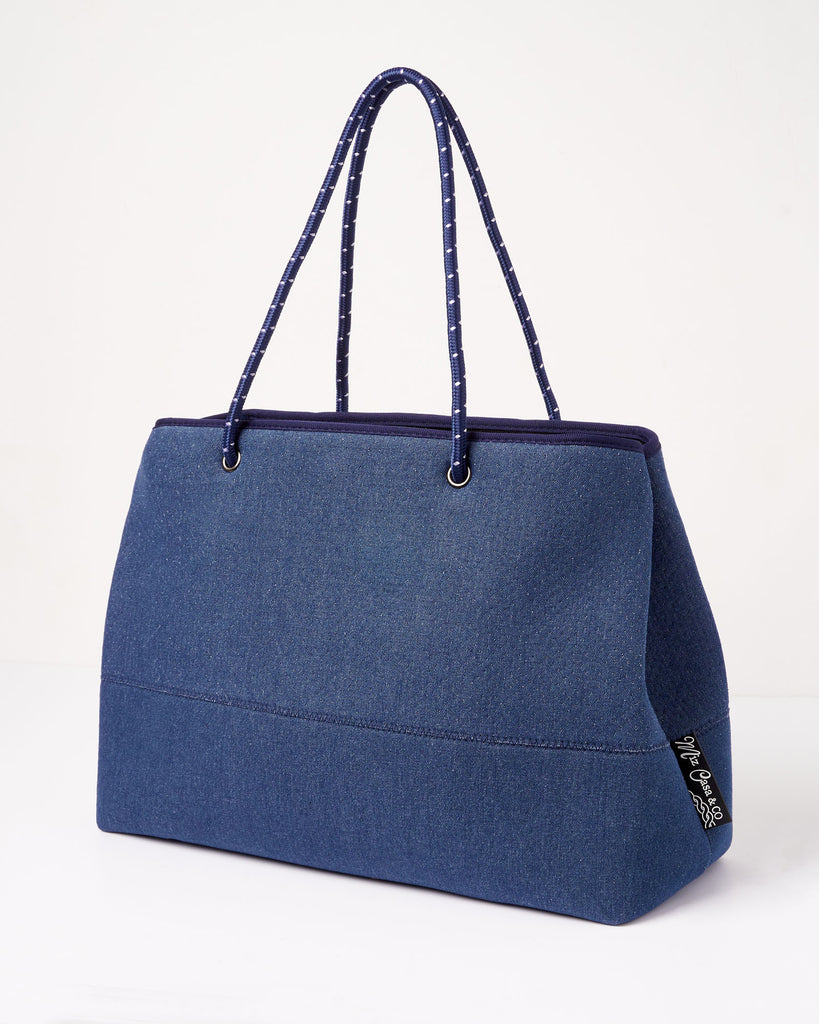 Miz Casa & Co Ivy Neoprene Tote Bag Blue Denim