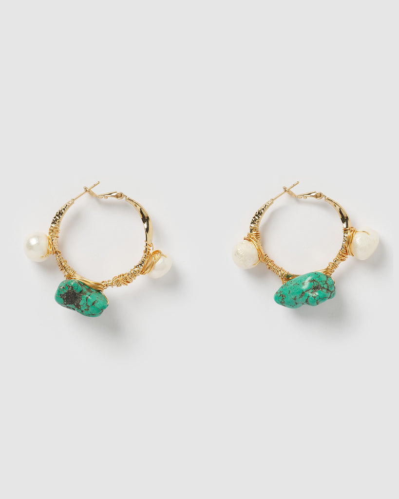 Miz Casa & Co Delilah Hoop Earrings Turquoise