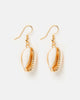 Miz Casa & Co Cowrie Shell Earrings Gold White