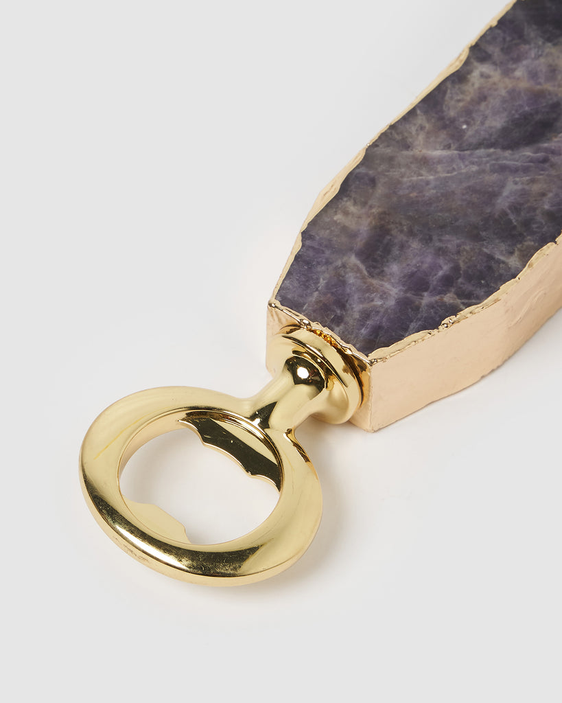 Miz Casa & Co Bottle Opener Gold Amethyst