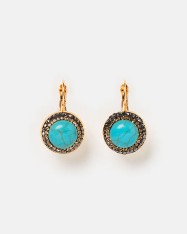 Miz Casa & Co Moon Dance Earrings Blue Gold
