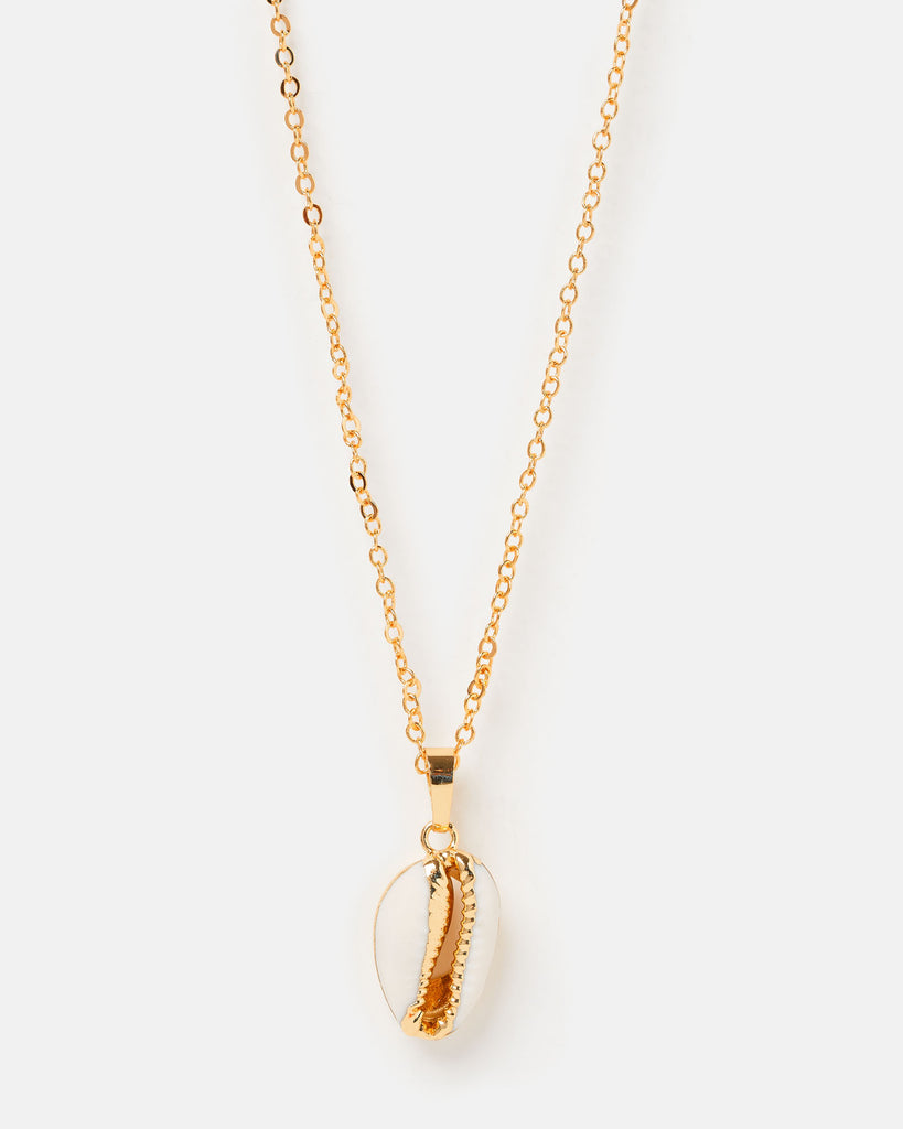 Miz Casa & Co Cowrie Shell Necklace Gold White
