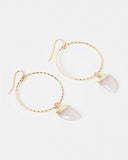 Miz Casa & Co Stone Charm Earrings Gold Pink