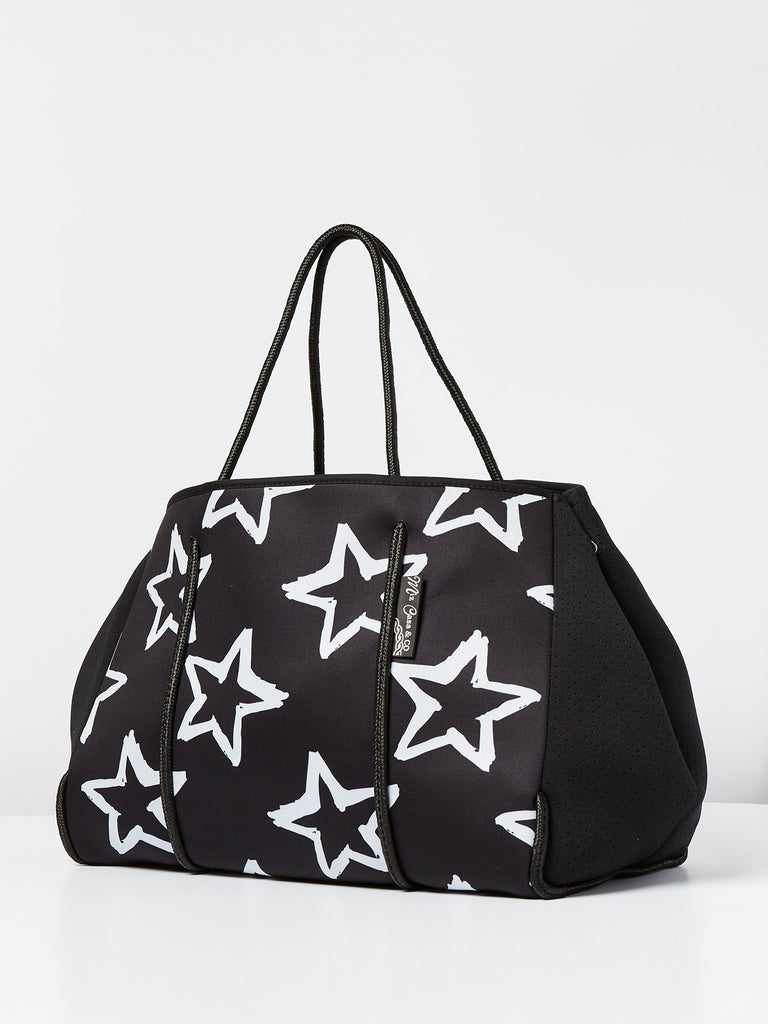 Miz Casa & Co Sammy Neoprene Printed Tote Bag Black Star