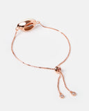 Miz Casa & Co Cowrie Shell Simple Bracelet Rose Gold White
