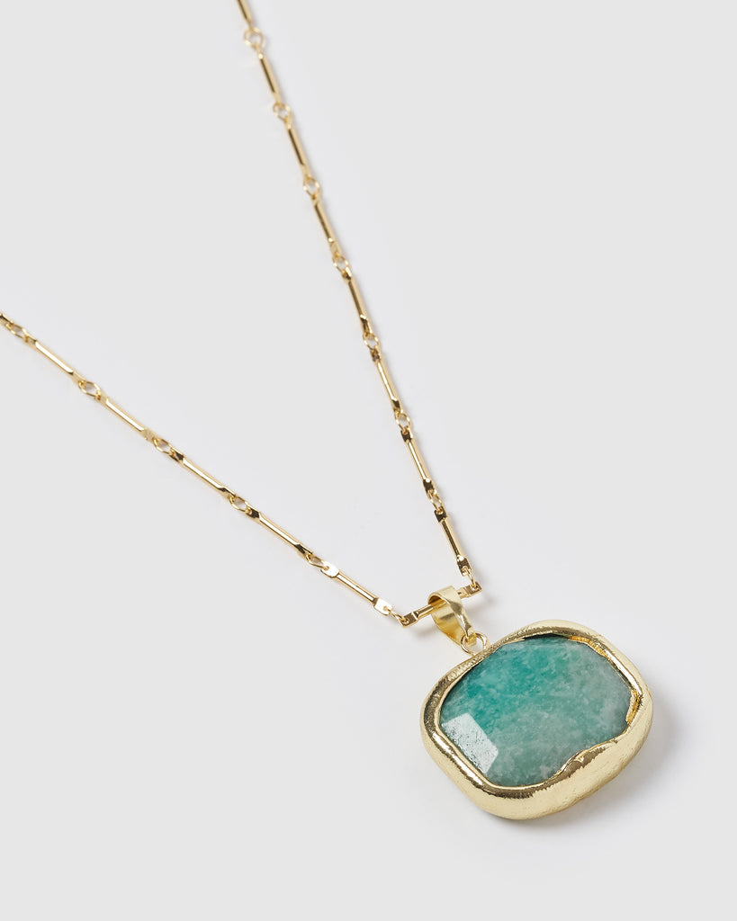 Miz Casa & Co Jewel Charm Necklace Jade Gold