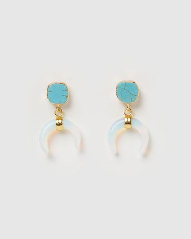 Miz Casa & Co Lucky Charm Earrings Blue White