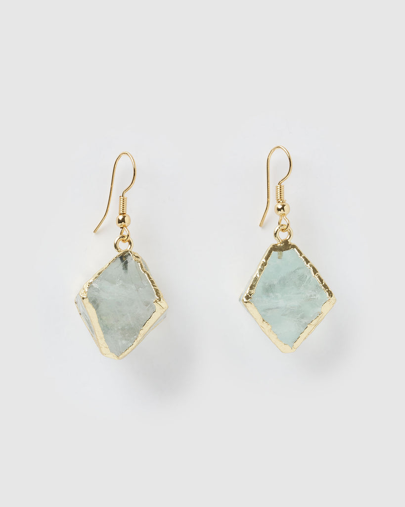 Miz Casa & Co Large Trust Earrings Gold Jade