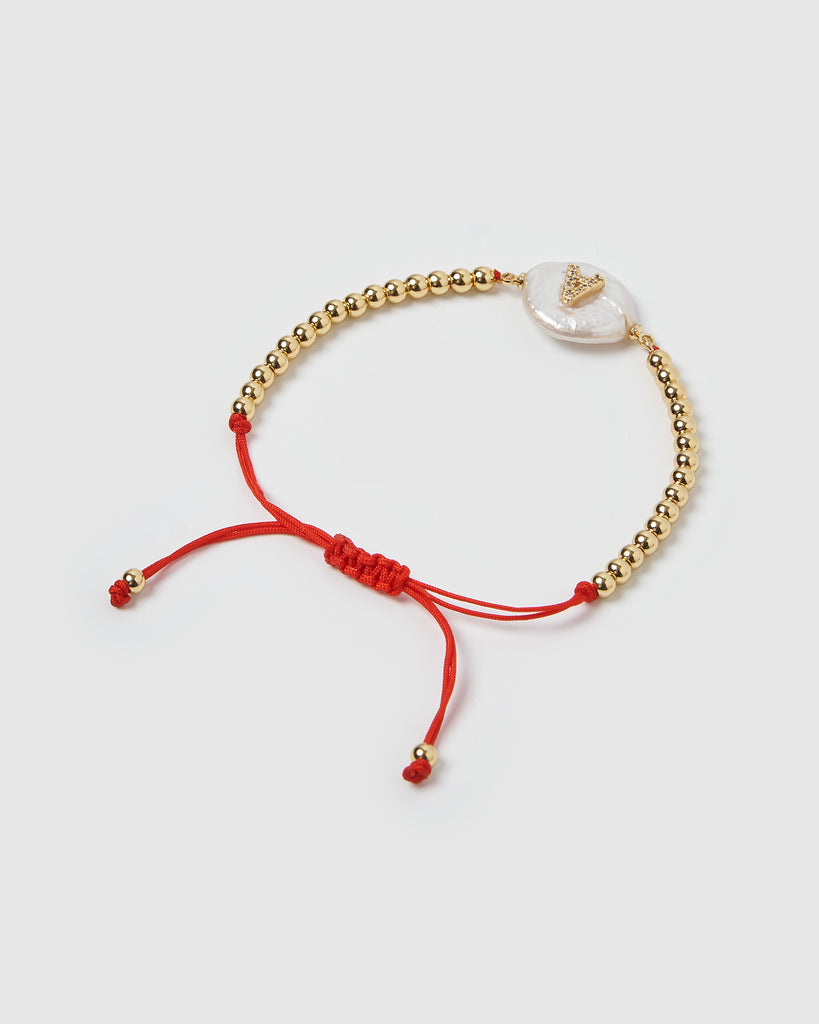 Miz Casa & Co Letterman A Bracelet Gold Red