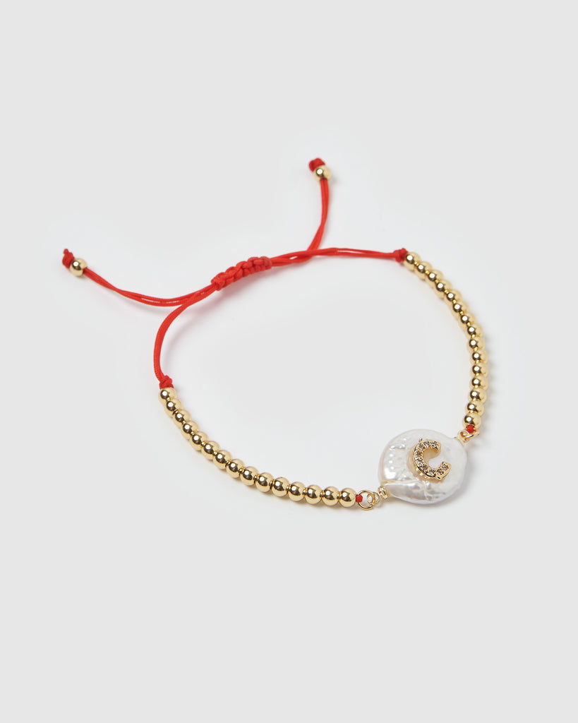 Miz Casa & Co Letterman C Bracelet Gold Red