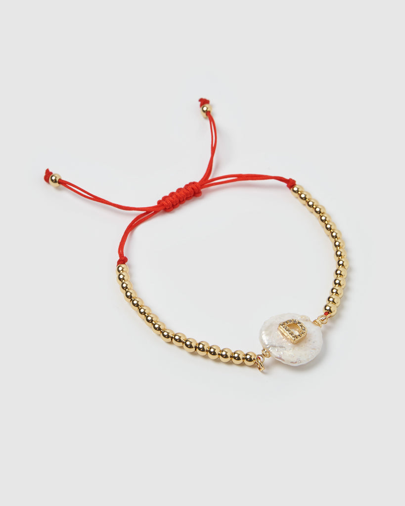 Miz Casa & Co Letterman D Bracelet Gold Red