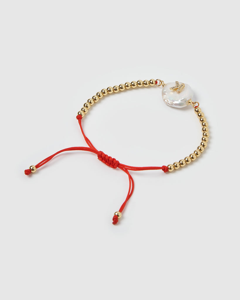 Miz Casa & Co Letterman K Bracelet Gold Red