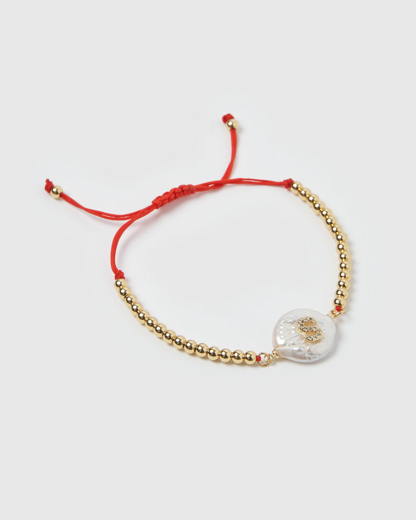 Miz Casa & Co Letterman S Bracelet Gold Red